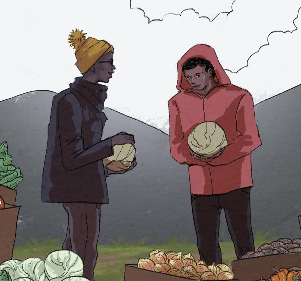 Comic art depicting two men with an assortment of fresh vegetables.