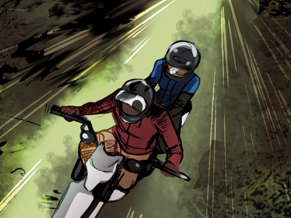 Comic art depicting Dr. Marie Roseline Darnycka Bélizaire riding a motorcycle with another figure.