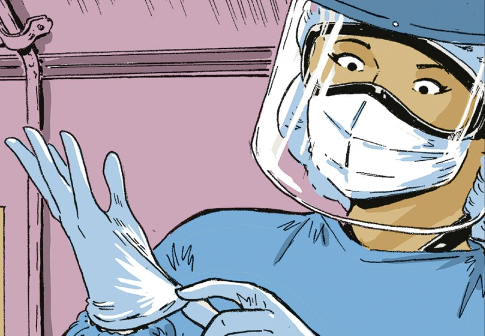 Comic art depicting Dr. Edna Patricia Gomez, wearing a face shield, adjusts her medical gloves.